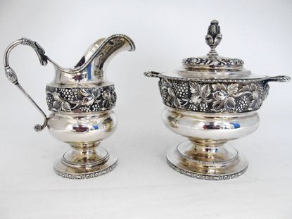 """Baltimore was known for its fine quality silver, and silver enthusiasts agree that the Baltimore Summer Antiques Show is a top venue on the show calendar. An Atlanta, Georgia, silver dealer will be bringing this Kirk coin silver sugar and creamer """"back home."""""""