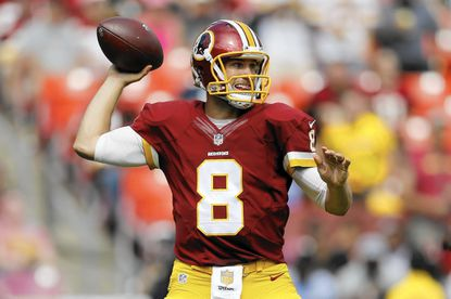 Washington Redskins quarterback Kirk Cousins (8) passes the ball during the second half of an NFL football game against the St. Louis Rams in Landover, Md., Sunday, Sept. 20, 2015. (AP Photo/Patrick Semansky)