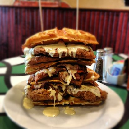 Meet the Breakfast Shoppe's chicken and waffle sandwich, named after WBAL-TV meteorologist Tony Pann.
