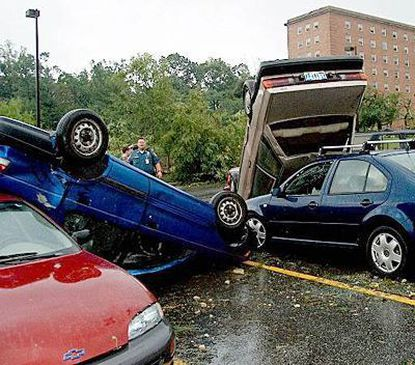 A 2001 tornado overturned cars at the University of Maryland, College Park