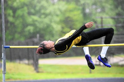 Beyonce Kelly, shown here as a Harford Tech athlete, celebrated her first collegiate victory recently, but it wasn't in the high jump.