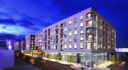 A rendering of the apartment buildings that were approved as part of the first phase of the Poppleton redevelopment.