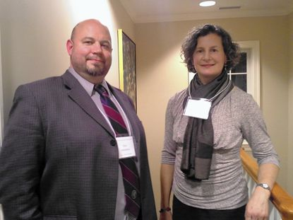 Religion teachers Eric Whitehair of Boys' Latin and Amy Schmaljohn of Friends School attend the inaugural meeting of the Religion Teachers Network at the Institute of Christian and Jewish Studies.