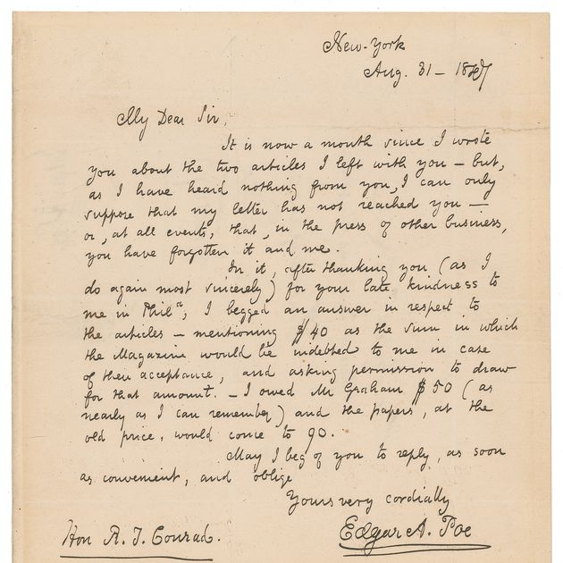 Edgar Allan Poe's letter pleading for $40 from a Philadelphia editor sells 173 years later for $125,000