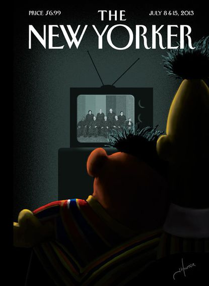 Looking Out: Bert and Ernie cuddle on New Yorker's DOMA cover