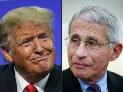 This combination of pictures created on July 13, 2020 shows President Donald Trump in Phoenix, Arizona, June 23, 2020 and Anthony Fauci, director of the National Institute of Allergy and Infectious Diseases in Washington, D.C. on April 29, 2020. President Trump considered firing Dr. Fauci but refrained from from this decision because of public perception.