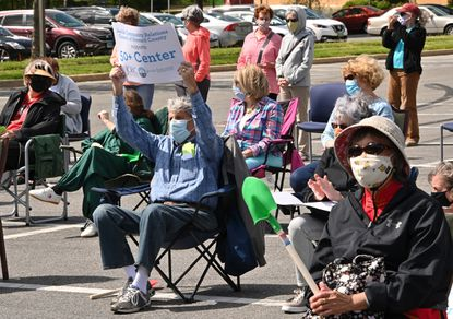 Rally put on by People Acting Together in Howard (P.A.T.H.) to support the county council funding the construction of the new 50+ center in East Columbia on April 30. (Jeffrey F. Bill/Baltimore Sun Media).