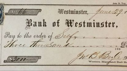 A check written by John Boyle for $3,000 prior to the events of Corbit's Charge on June 29, 1862.