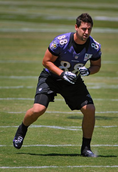 Ravens tight end Dennis Pitta works on foot work during OTAs in May.