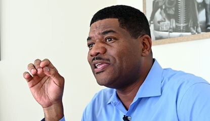 """Baltimore mayoral candidate T.J. Smith's income tax returns for the past three years are dated this week, but his tax preparer said Smith has """"always filed his taxes and paid what is due."""" In this Oct. 28, 2019, photo, Smith talks about running for mayor."""