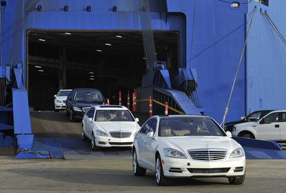 Mercedes Benz coming off a ship at the Port of Baltimore, which reported record general cargo tonnage in July.