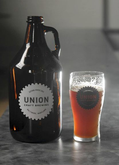 """A 64-ounce """"growler"""" of beer, left, costs $17 and $10 for refills at Union Craft Brewing, a brewery that opened June 6 in Woodberry."""