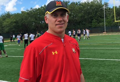 Maryland's D.J. Durkin, in his first year with the Terps, was among the numerous college coaches on hand as Michigan's Jim Harbaugh led Elite Prep Sports' Friday Night Lights prep football camp at University School in Davie on Friday. Durkin was Michigan's defensive coordinator last season and also worked under Harbaugh at Stanford.