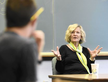 Poet Carol Frost talks to a McDaniel College class on Tuesday.