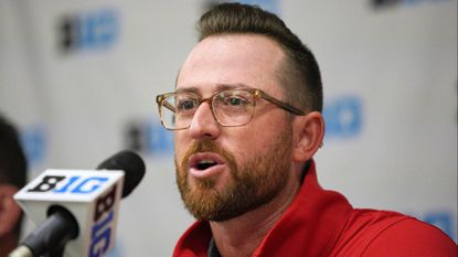 Maryland coach Rob Vaughn speaks during a news conference Tuesday before the Big Ten baseball tournament in Omaha, Neb.