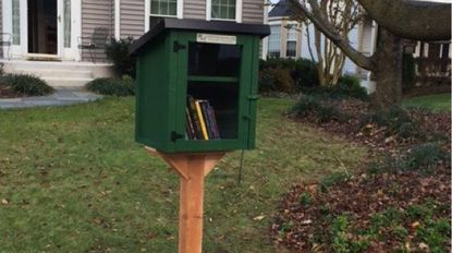 The Little Free Library in front of Sharon Schwemin's house
