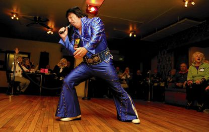 Joe Forrester, a regular Elvis tribute artist from New Freedom, Pa. , performs at the 20th anniversary of Night of 100 Elvises this weekend at Lithuanian Hall.