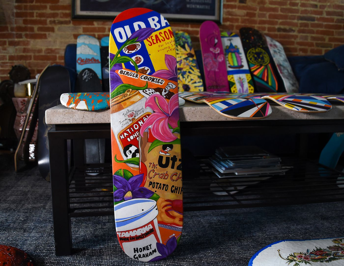 """""""Charm City Treats"""" by Dena Jones (IG: @chadenamade) sits in the living room of Cindy Conklin on Wednesday, April 7, 2021; the art piece will be auctioned off to help fund the completion of Jake's Skate Park at Rash Field."""