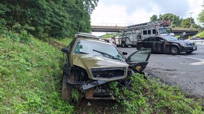 A Maryland State Police Trooper vehicle was involved in a crash on I-95 northbound near Havre de Grace, under the Route 155 overpass.
