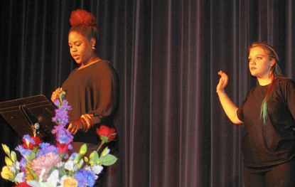 """Westminster High School students Jordyn Curtis, left, and Taylor Lee perform """"Still I Rise"""" by Maya Angelou at last year's annual African-American Read-In at the Carroll Arts Center Feb. 26. (February 26 2015)_- Original Credit: Laura Doolan/submitted photo"""