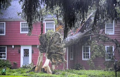 A home at the 600 block of Chestnut Ave in Towson was split in half by a large tree that fell during heavy storms that swept through the mid-Atlantic on Friday evening, June 1.