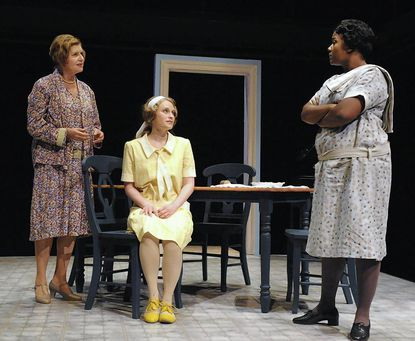 """Yvonne Erickson, Christine Demuth, Erica Lauren McLaughlin in """"A Young Lady of Property"""" at Rep Stage."""