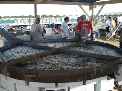 """The """"10 foot"""" frying pan at the Delmarva Chicken Festival. This will be the 65-year-old fest's last year. Don't chicken out! Go!"""