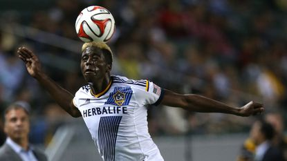 Galaxy forward Gyasi Zardes #11 of the Los Angeles Galaxy heads the ball during a win over FC Dallas on May 21.
