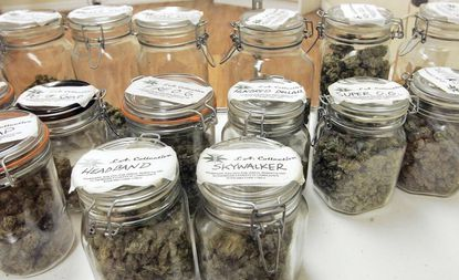 Fanciful names identify containers of medical marijuana at a dispensary in Los Angeles.
