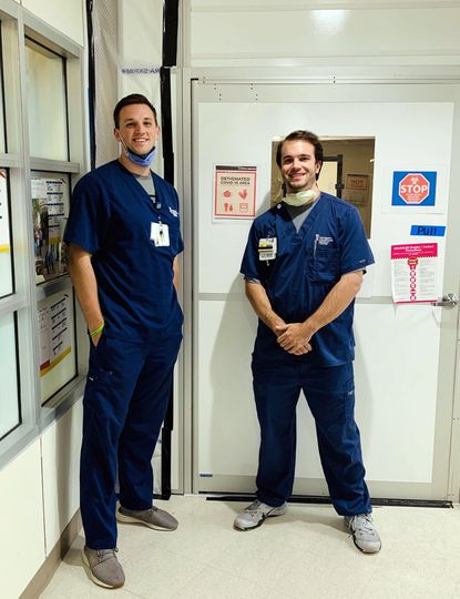 Ryan Hursey and Brian Kohr played football and lacrosse together at Westminster High School and are now working on COVID units at University of Maryland Hospital.