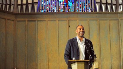 "Author Ta-Nehisi Coates speaks to an over-capacity crowd at Union Baptist Church about his book ""Between the World and Me."" Toni Morrison has anointed him as the intellectual successor to James Baldwin. His essay last year, ""The Case for Reparations,"" won a Polk Award."