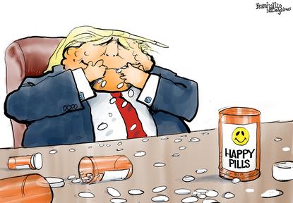 President Donald Trump, the happy hydroxychloroquine user.