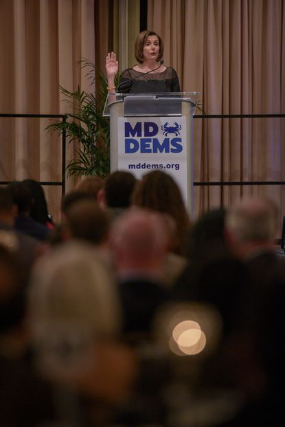 Maryland Democrats will elect a new party chair on Dec. 7 to replace Maya Rockeymoore Cummings, who vacated the seat to run for her late husband's seat in Congress. In this file photo, U.S. Speaker of the House Nancy Pelosi gives remarks Nov. 3, 2019, at a state Democratic Party gala in Middle River.