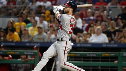 The Nationals' Bryce Harper hits a solo home run off Pirates starting pitcher Ivan Nova in the sixth inning Monday, July 9, 2018.