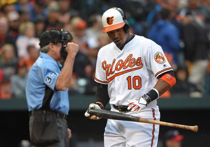 Adam Jones out of Orioles' starting lineup with soreness in rib area