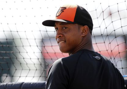 Orioles second baseman Jonathan Schoop works out prior to a game against the New York Yankees at Ed Smith Stadium.