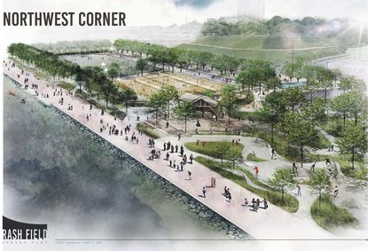 This is a view looking southeast at the Waterfront Partnership's proposed redesign of Rash Field on the Inner Harbor by Mahan Rykiel Associates.