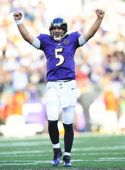 Joe Flacco celebrates after throwing a touchdown pass in the third quarter against the Oakland Raiders this past Sunday. He still has yet to miss a start since joining the Ravens.