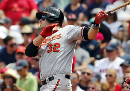Matt Wieters of the Orioles follows through on his two-run home run against the Boston Red Sox during the fourth inning at Fenway Park on June 25, 2015 in Boston.