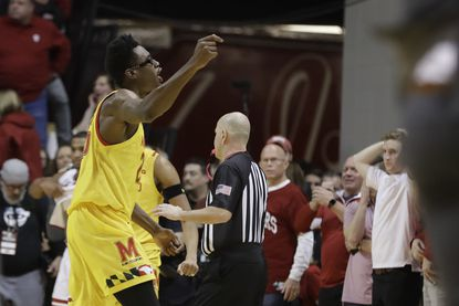 Maryland's Jalen Smith celebrates after his team defeated Indiana on Sunday, Jan. 26, 2020, in Bloomington, Ind.