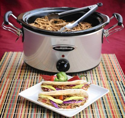 Crock pot brisket tacos with green sauce, made and styled by Julie Rothman.