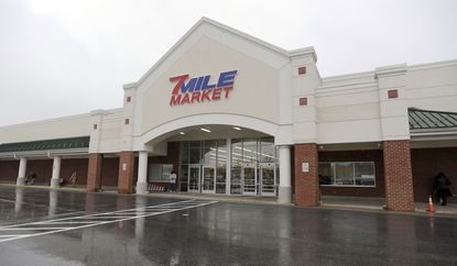 The exterior of the Seven Mile Market. Baltimore County Police in Pikesville have placed camera towers at the Market Maven and Seven Mile Market.