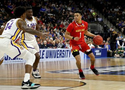 Anthony Cowan Jr. of Maryland drives against Marlon Taylor of LSU during the second round of the 2019 NCAA men's basketball tournament on March 23, 2019 in Jacksonville, Fla.