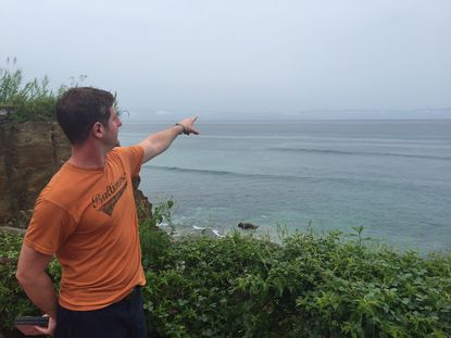 Kevin Bartley watches Hurricane Patricia come in while on his honeymoon in Punta Mita, Mexico.
