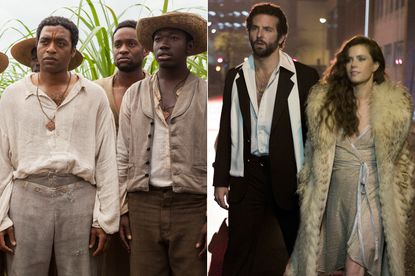 """""""12 Years a Slave,"""" left, and """"American Hustle"""" are among the top nominees for the Golden Globes."""