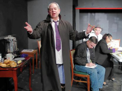 """Jeff Murray, Michael Parks, Tim Evans and Joanna Andrus in a scene from Neil Simon's """"Laughter on the 23rd Floor,"""" at Laurel Mill Playhouse."""