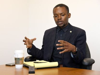 Alderman DaJuan Gay, D-Ward 6, as a candidate in 2019 meeting with editors and reporters of The Capital in the newsroom. This week, Gay endorsed a trio of Democratic City Council candidates who are hoping to unseat three of his colleagues in the Sept. 21 Democratic primary election.