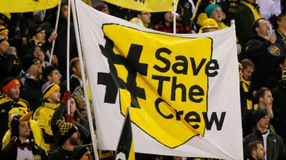 Columbus Crew fans show their support for the team before the start of their MLS Eastern Conference semifinal against New York City FC last year.