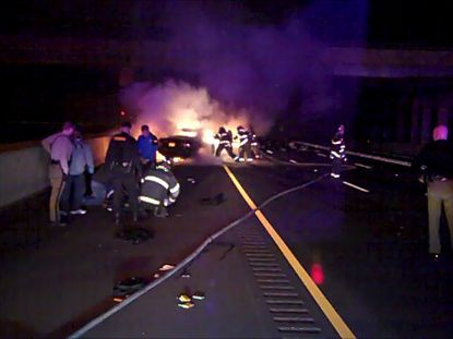 The scene of an early morning accident on I-95 that killed two people.