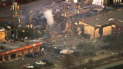 This aerial photo taken from video provided by KTRK-TV shows damage to buildings after an explosion in Houston on Friday, Jan. 24, 2020.